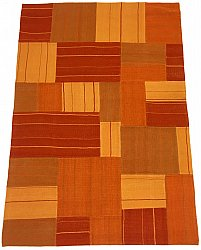 Patchwork Tæppe - Superior new wool Patchwork (orange)